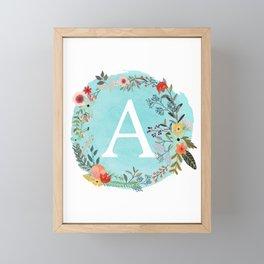 Personalized Monogram Initial Letter A Blue Watercolor Flower Wreath Artwork Framed Mini Art Print