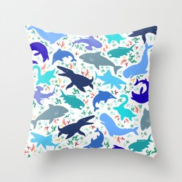 Prehistoric Sea Creatures Throw Pillow