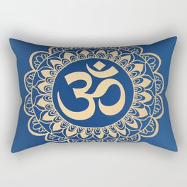 Blue and Gold Ohm Mandala Rectangular Pillow