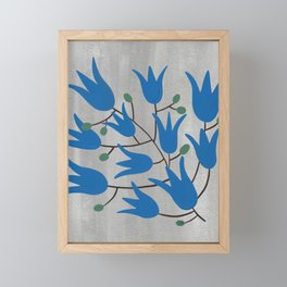 Blue Bell Flowers on Silver Background – Blue Bell – Scandinavian Folk Art Framed Mini Art Print