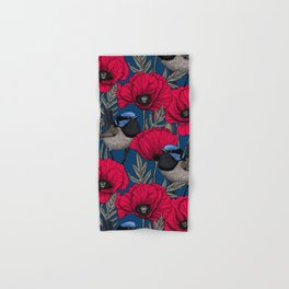 Fairy wren and poppies Hand & Bath Towel