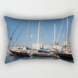 Traditional Turkish Gulets In Marmaris Harbour Rectangular Pillow
