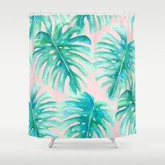 Paradise Palms Blush Shower Curtain