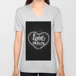Love 24 Hours (Black and White) Unisex V-Neck
