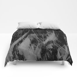 Gray black watercolor brushstrokes abstract pattern Comforters