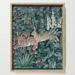 William Morris Forest Rabbits and Foxglove Greenery Serving Tray