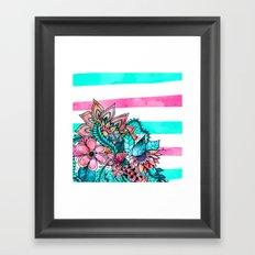 Floral watercolor modern pink teal stripes Framed Art Print