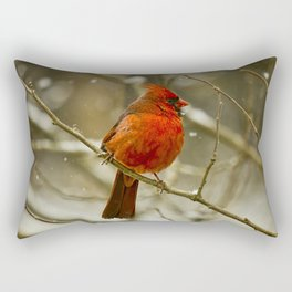 Wintry Cardinal Rectangular Pillow