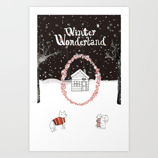 Winter Wonderland Holiday card/illustration Art Print