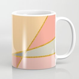 Rose Peach And Grey With Gold Trim Geo Coffee Mug