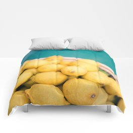 Yellow lemons next to a turquoise pool. | Colorful food photography, tropical feel. Comforters