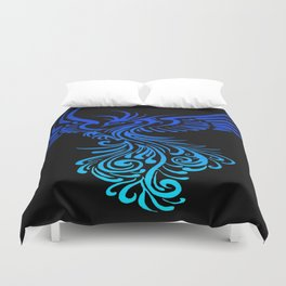 Rising From The Ashes Phoenix Blue Aqua Ombre Duvet Cover