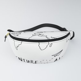 Adventure Map on White Fanny Pack