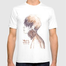Fashion illustration profile portrait gold black white markers and watercolors Mens Fitted Tee White MEDIUM
