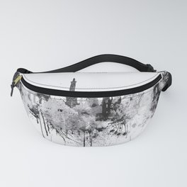 Black And White Brussels City Skyline Fanny Pack