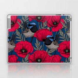 Fairy wren and poppies Laptop & iPad Skin