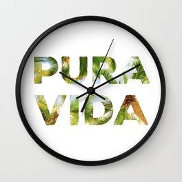 Pura Vida Costa Rica Palm Trees Wall Clock