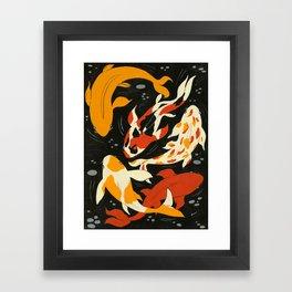 Koi in Black Water Framed Art Print