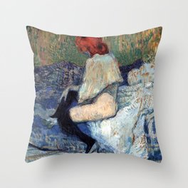 "Henri de Toulouse-Lautrec ""Red-Haired Woman on a Sofa"" Throw Pillow"