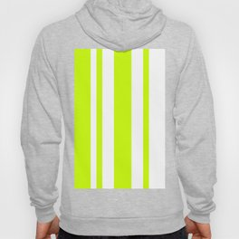 Mixed Vertical Stripes - White and Fluorescent Yellow Hoody