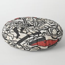 Grand Parade With Red Background Mosaic portrait by Fernand Léger Floor Pillow