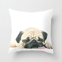Nap Pug, Dog illustration original painting print Throw Pillow