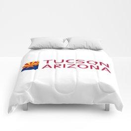 Arizona: Tucson (State Shape & Flag) Comforters