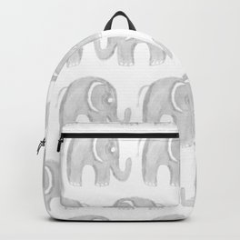Modern gray white watercolor pastel cute elephant Backpack