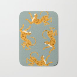 Leopard Race - blue Bath Mat