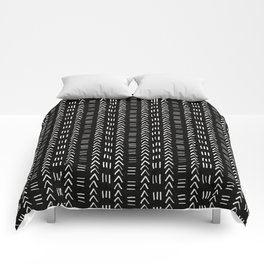 Mudcloth No.2 in Black + White Comforters