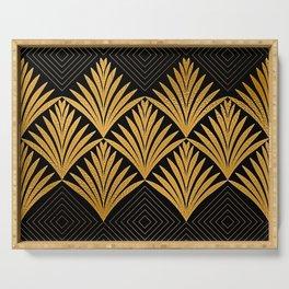 Art Deco Luxurious Gold and Ebony Black Elegant Design Serving Tray