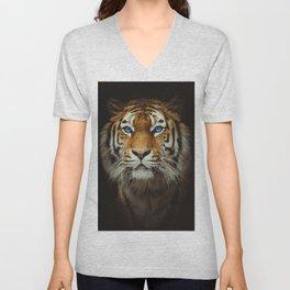 Wild Tiger with Blue eyes Unisex V-Neck
