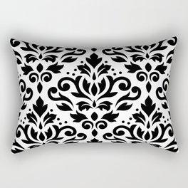 Scroll Damask Large Pattern Black on White Rectangular Pillow