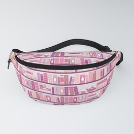 Bookcase Pattern Romance Pink Books Fanny Pack