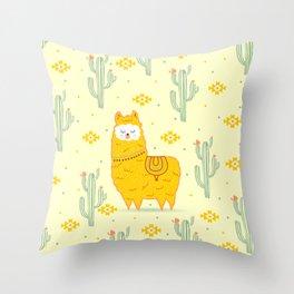Alpaca summer Throw Pillow