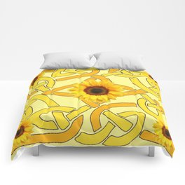 Decorative Yellow Sunflowers Celtic Pattern Art Comforters