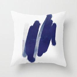 dark blue brush stroke Throw Pillow