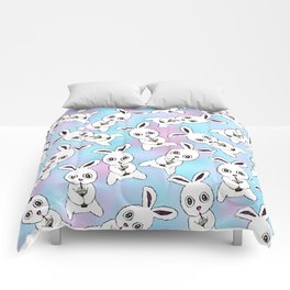 Cute Bunny with Coffee Frappe on Pink Blue Haze Comforters