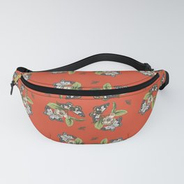 Butterflies and Camellias on Red Pattern Fanny Pack