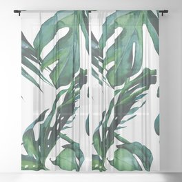 Tropical Palm Leaves Classic Sheer Curtain