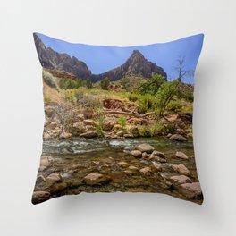 The Watchman & The Virgin 4756 - Zion National Park, Utah Throw Pillow