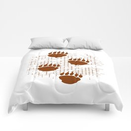 Bear Cub Paw Prints On Distressed Background Comforters