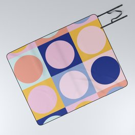 Colorful Circles in Squares Picnic Blanket