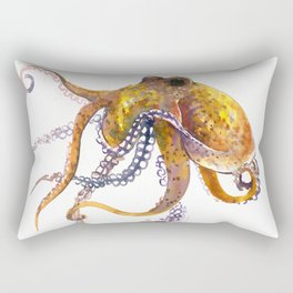Octopus, orange red gold underwater scene octopus lover design, beach Rectangular Pillow