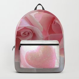 Shabby Chic Romantic Pink Whte Roses Hearts Floral Decor Backpack