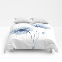 Blue Watercolor Poppies Comforters