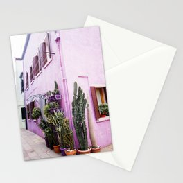 Purple house   Italy venice   Cactus Stationery Cards