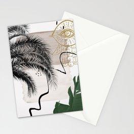Banana Palms Hamsa Hand Abstract - Naturelle #1 #minimal #wall #decor #art #society6 Stationery Cards