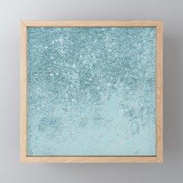 Modern abstract teal glitter blush tones marble Framed Mini Art Print