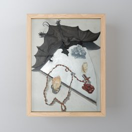 Bat with Rosary and Crystals Framed Mini Art Print